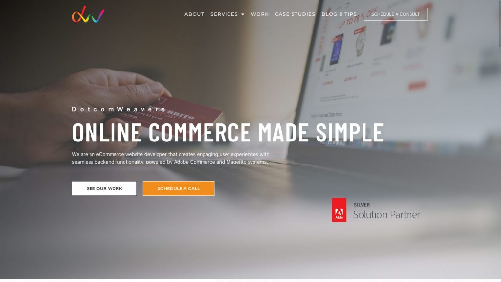Dotcom Weavers homepage