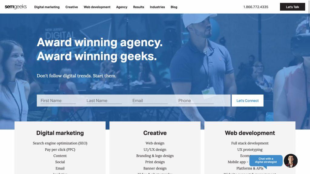 SEMgeeks homepage