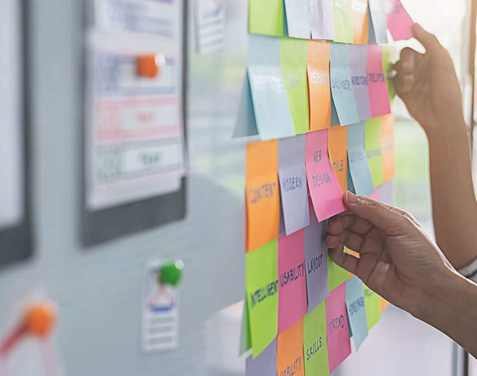 Designers using card sorting to conduct user research