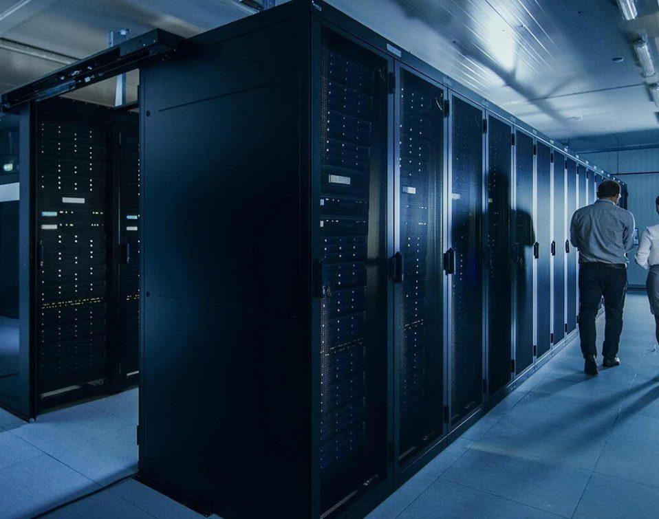 A row of servers in a website server farm