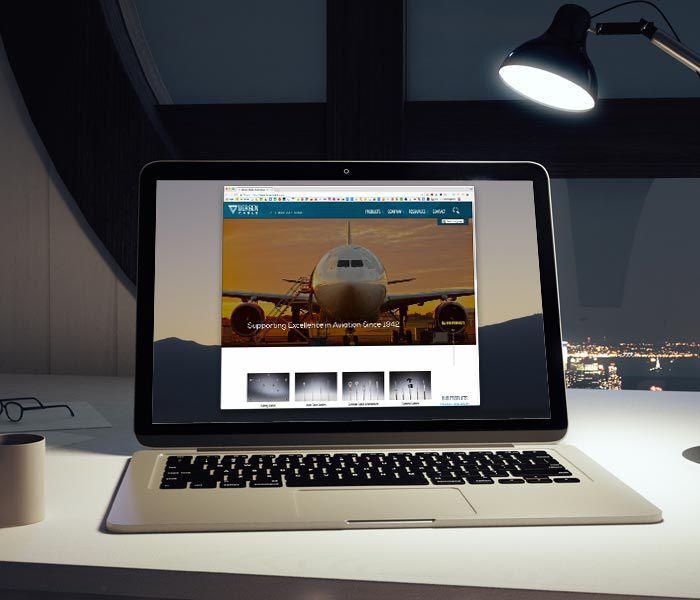 Bergen Cable website on laptop