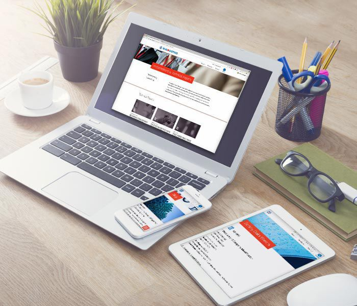 Rheogistics website on laptop, cellphone, and tablet.