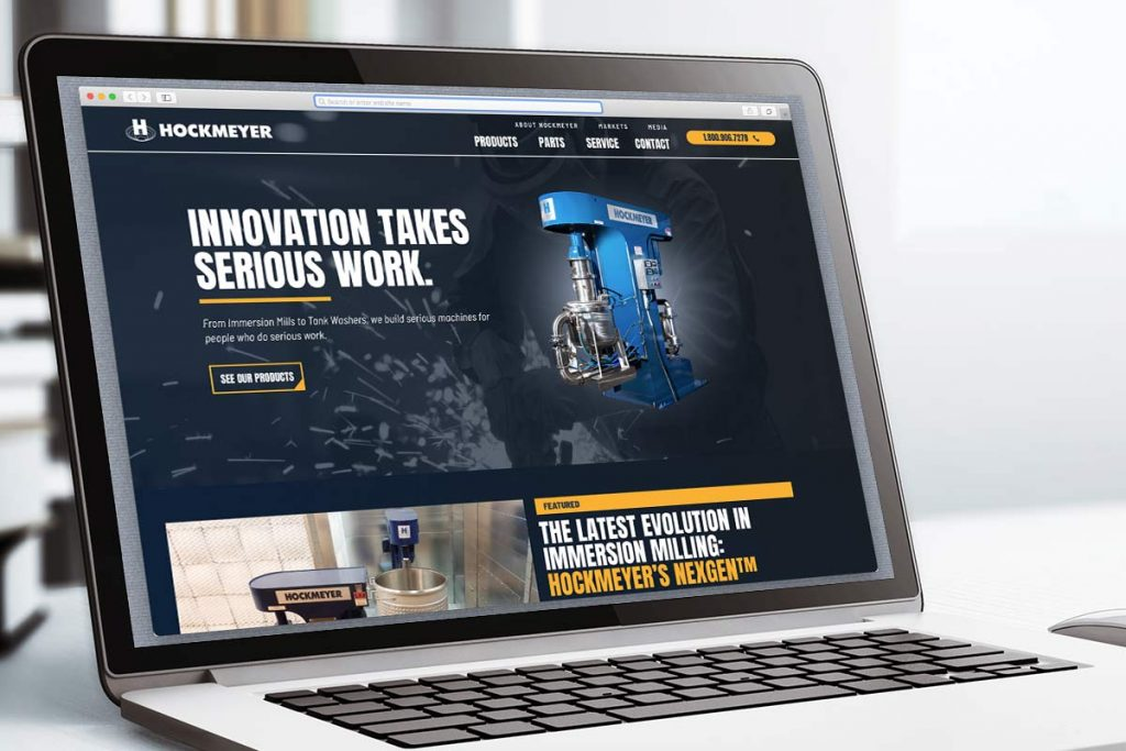 A close up of the Hockmeyer Equipment Corp. Homepage
