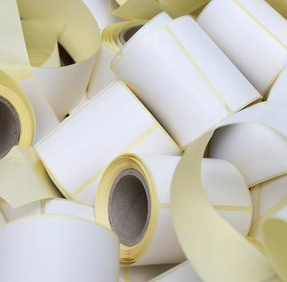 Various rolls of point-of-sale receipt paper.