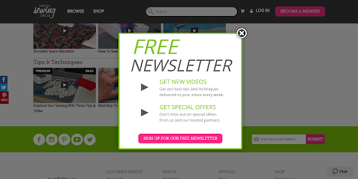 free newsletter sign up ad
