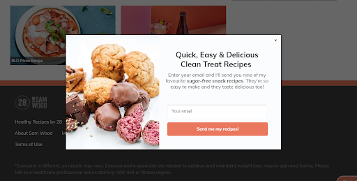 newsletter signup for recipes