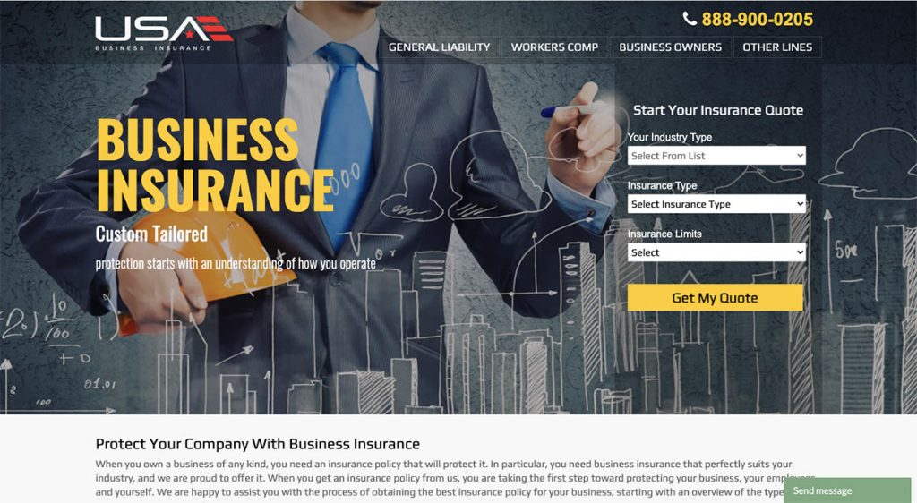 """Screenshot of USA Business Insurance's website illustration a short """"Get My Quote"""" form and submit button."""