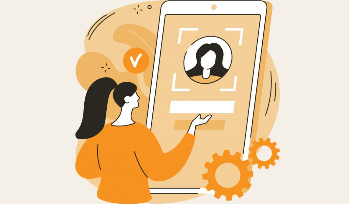 Illustration of a female user interacting with a personalized website.