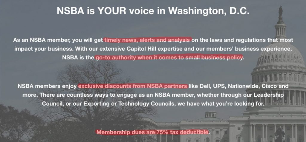 Copywriting example from the NSBA's website.