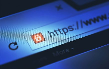 Zoomed shot of a web browser URL bar showing a SSL security icon