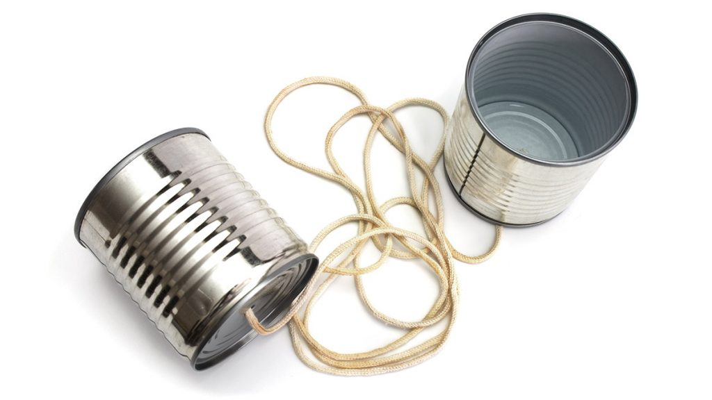 tin cans with string to make a telephone