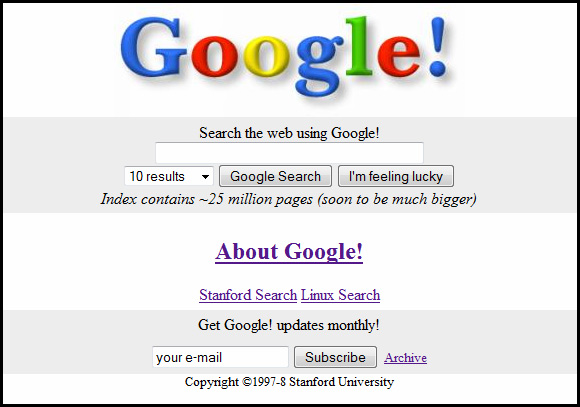 Photo of what Googles homepage originally looked like
