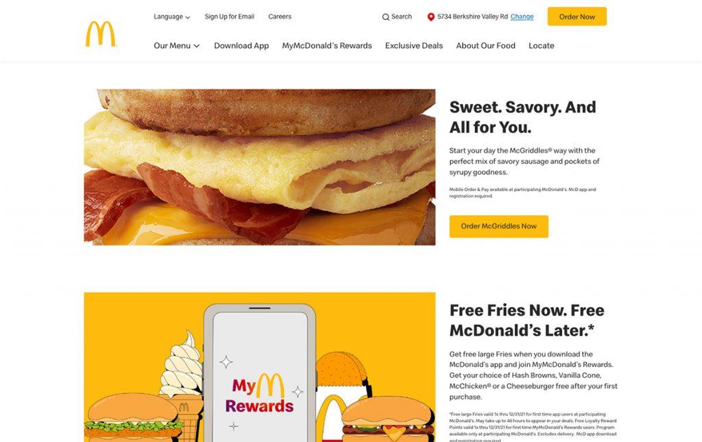 Mcdonalds website in 2021
