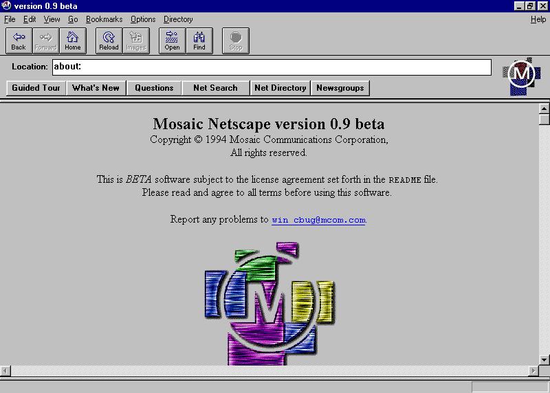 Photo of Mosaic Netscape web browser