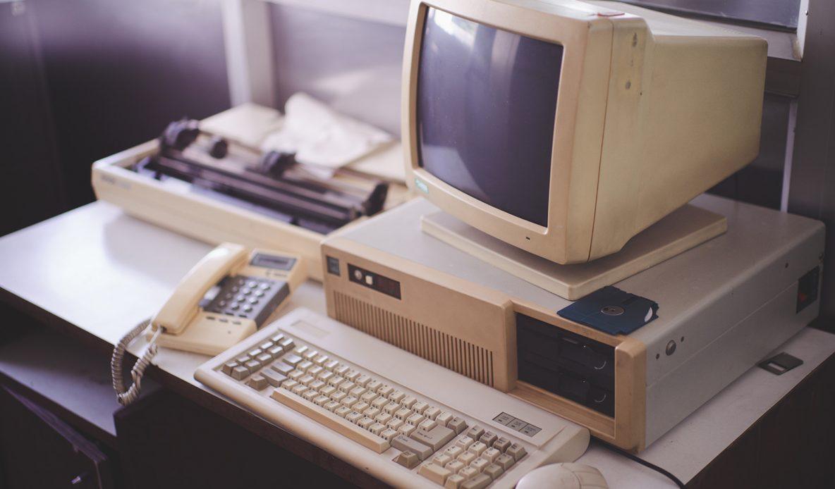 Old desktop computer and keyboard
